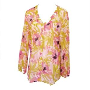 Kim Rogers thin floral button front blouse Large
